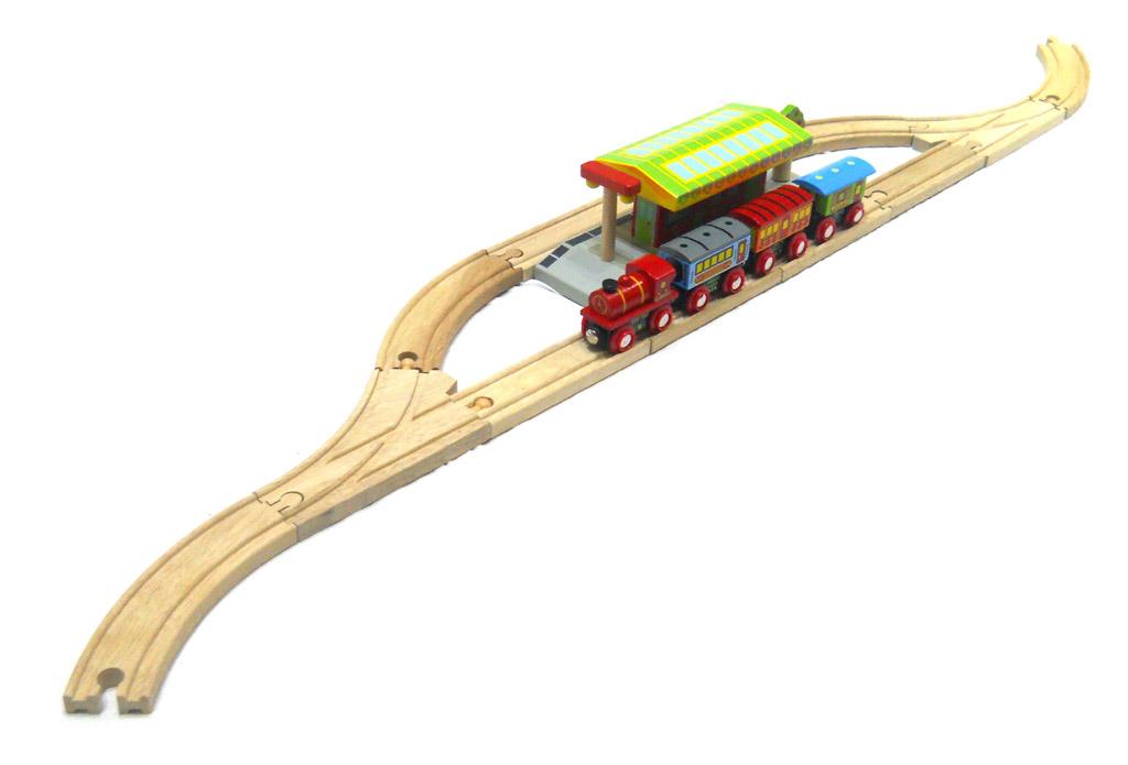 Bigjigs Rail set nádraží se 2 nástupišti a kolejemi