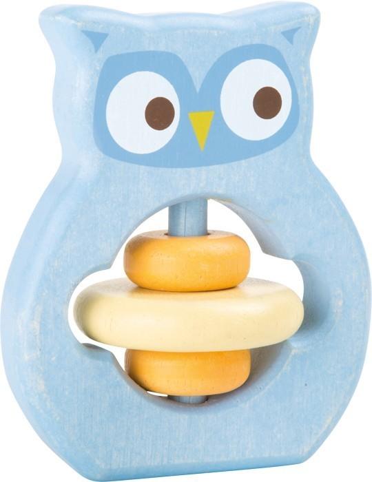 Dřevěná hračka pro uchopení chrastítko Sova