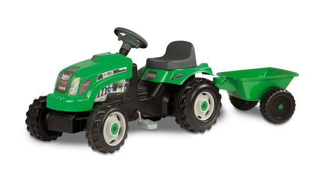 Šlapací traktor GM Bull s vlekem zelený