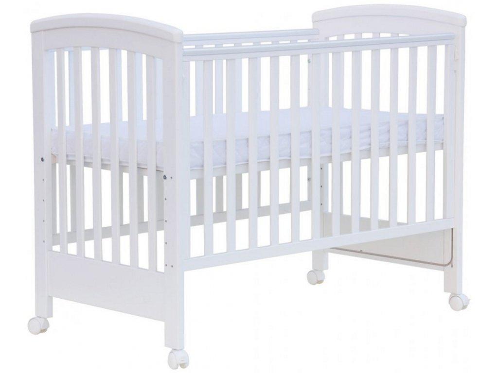 Łóżeczko dziecięce ścarlett Laura ze zdejmowanym bokiem, buk - białe 120x60 cm