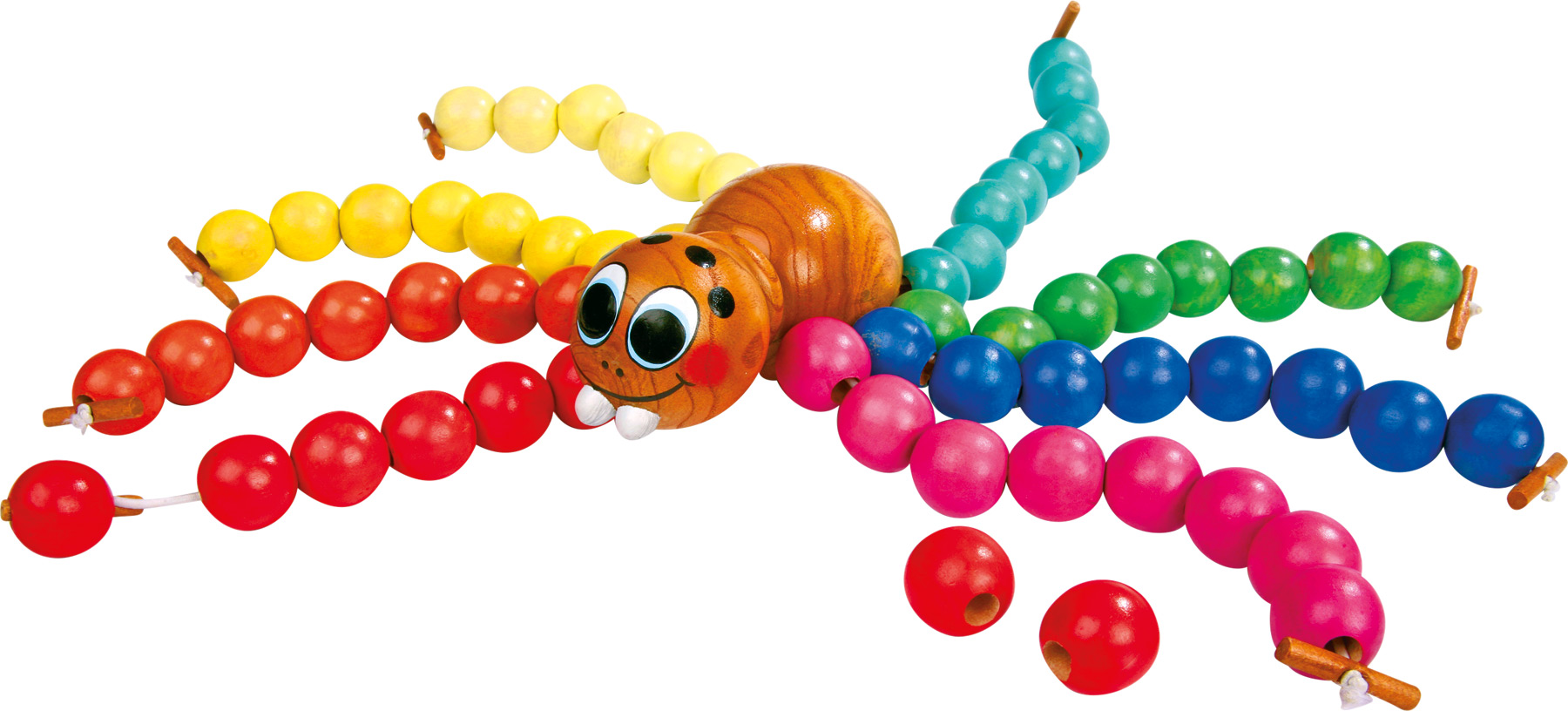 Dřevěná hračka - provlékání  - Navlékací pavouk