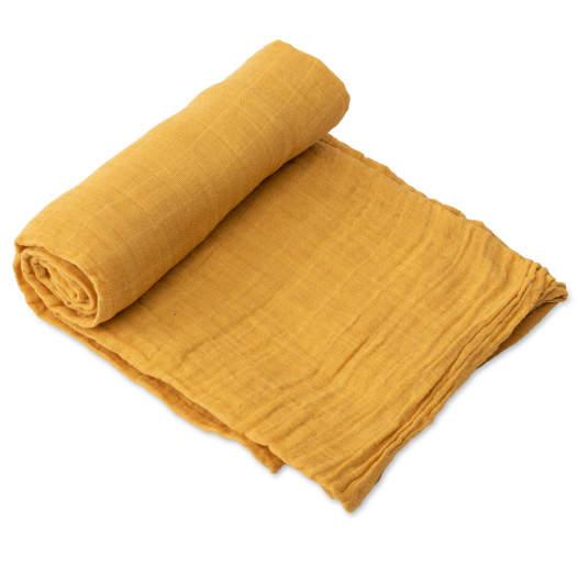 Mušelínová zavinovací plena 120x120cm Mustard