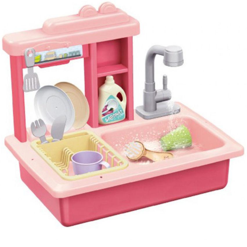 Zlew do mycia naczyń różowy + kran na kran plastikowy wraz z akcesoriami