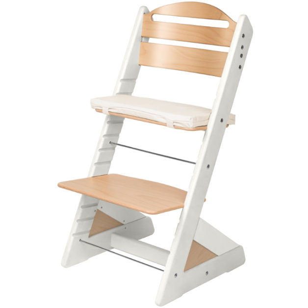 Dětská rostoucí židle JITRO PLUS bílo - buková