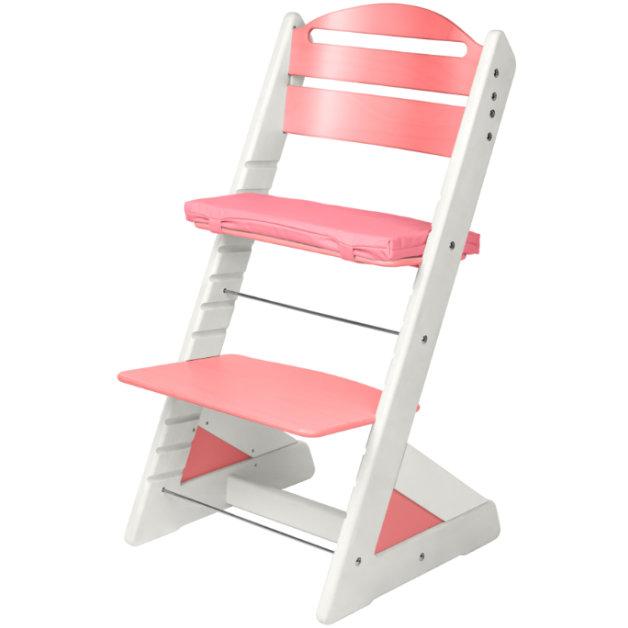 Dětská rostoucí židle JITRO PLUS bílo - růžová