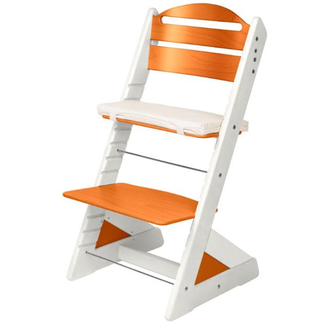 Dětská rostoucí židle JITRO PLUS  bílo - oranžová