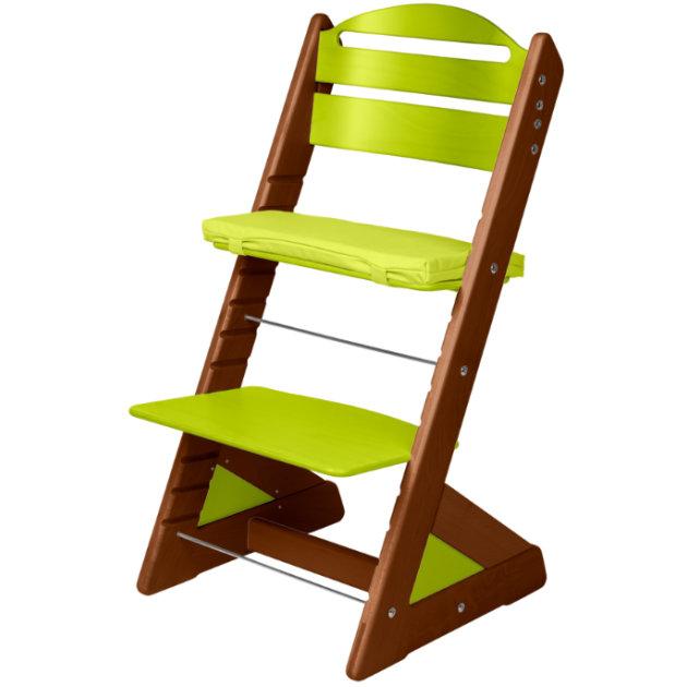 Dětská rostoucí židle JITRO PLUS ořechovo - světle zelená