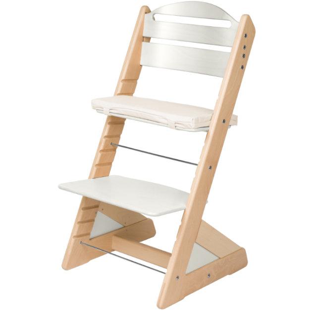 Dětská rostoucí židle JITRO PLUS bukovo - bílá