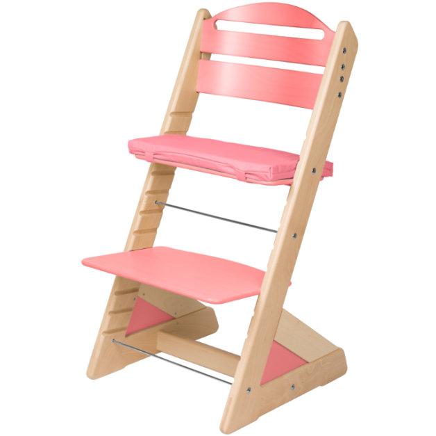 Dětská rostoucí židle JITRO PLUS bukovo - růžová