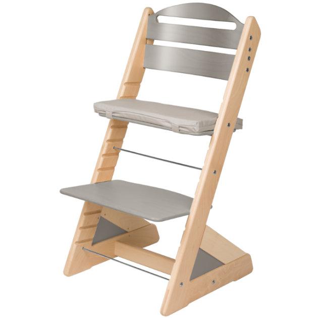Dětská rostoucí židle JITRO PLUS bukovo - šedá