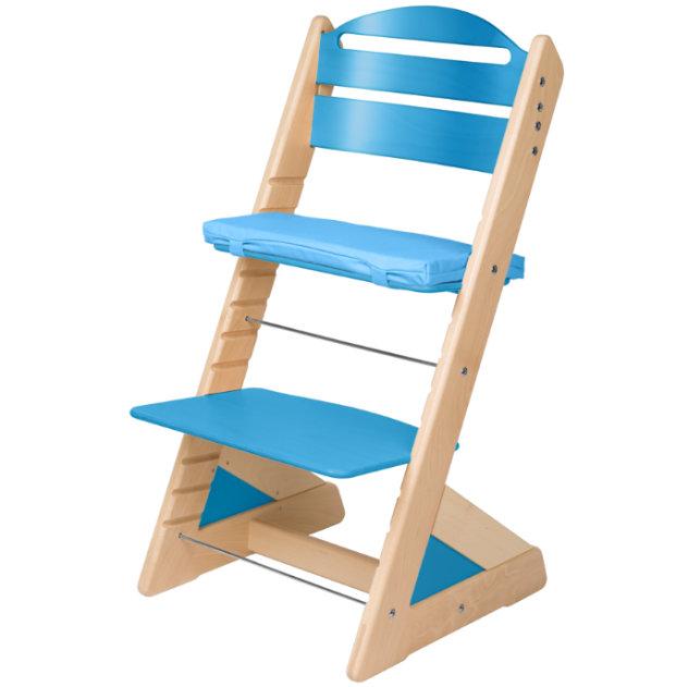 Dětská rostoucí židle JITRO PLUS bukovo - světle modrá