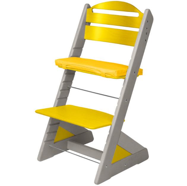 Dětská rostoucí židle JITRO PLUS šedo - žlutá
