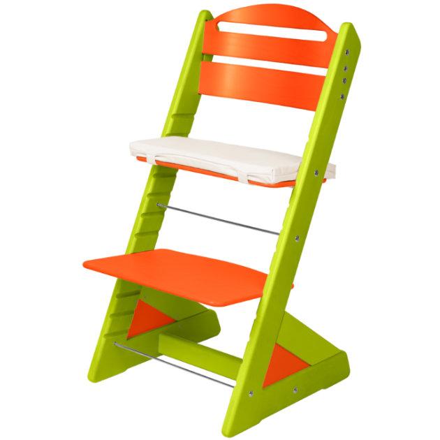 Dětská rostoucí židle JITRO PLUS světle zeleno - oranžová