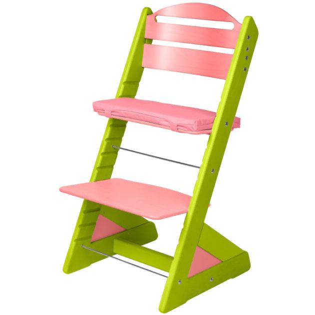 Dětská rostoucí židle JITRO PLUS světle zeleno - růžová