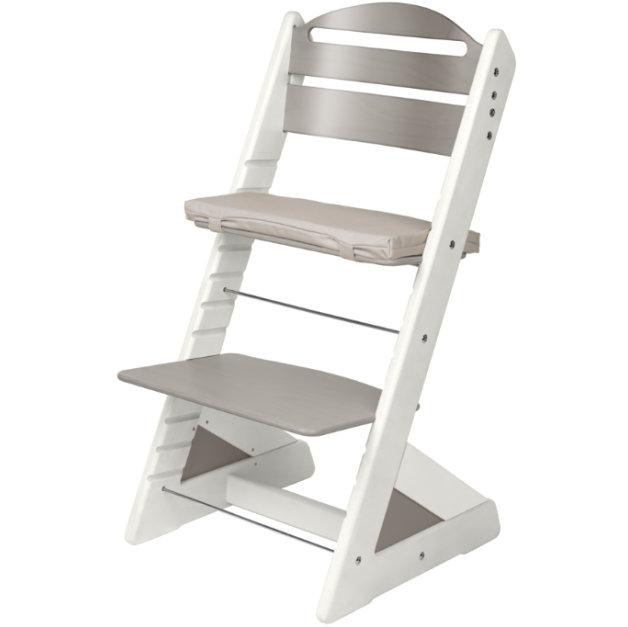 Dětská rostoucí židle JITRO PLUS bílo - šedá
