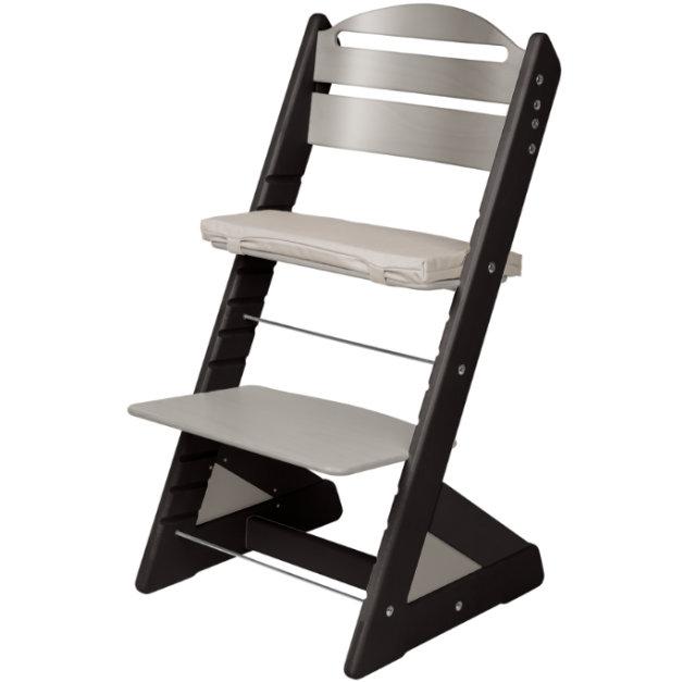 Dětská rostoucí židle JITRO PLUS černo - šedá