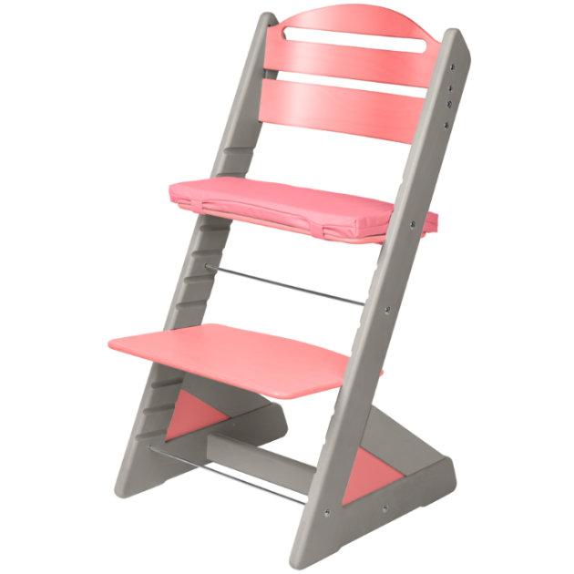 Dětská rostoucí židle JITRO PLUS šedo - růžová