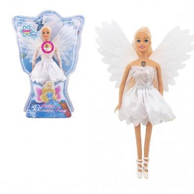 Bábika víla s krídlami plast 29cm biela na batérie so svetlom v blistri 24x34x6cm
