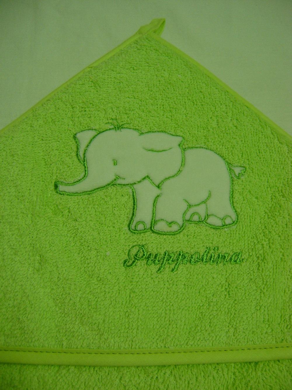 Osuška s kapucňou Puppolina Slon Zelená