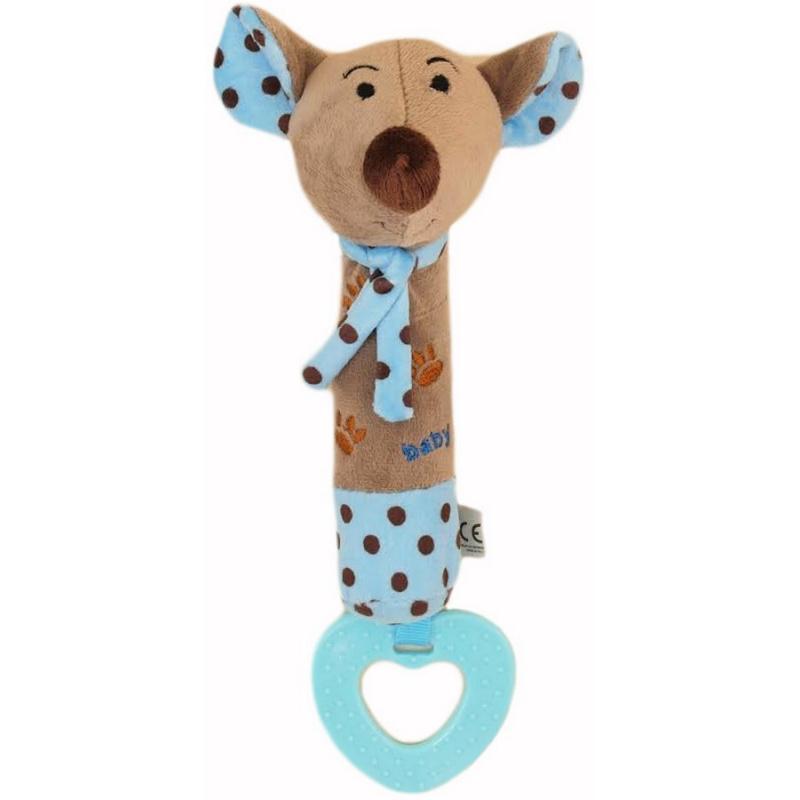 Detská pískacia plyšová hračka s hryzátkom Baby Mix myška modrá
