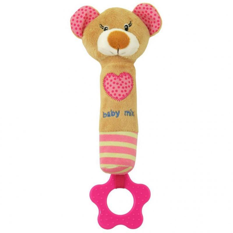 Detská pískacia plyšová hračka s hryzátkom Baby Mix medvedík ružový