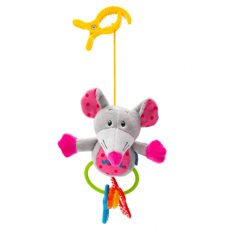 Dětská plyšová hračka s chrastítkem Baby Mix myš