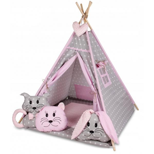 Stan pro děti týpí s velkou výbavou - šedý, růžový