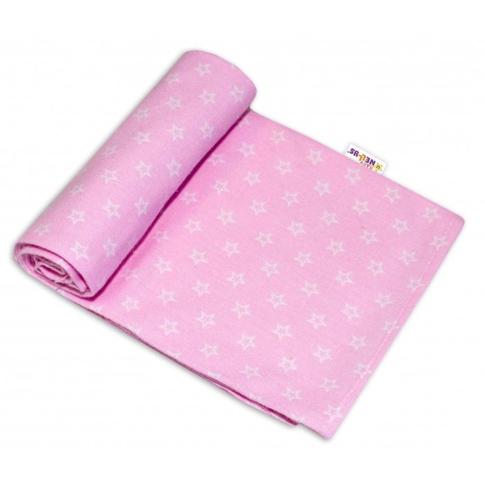 Kvalitní flanelová plenka, 70 x 80 cm - Mini hvězdičky v růžové