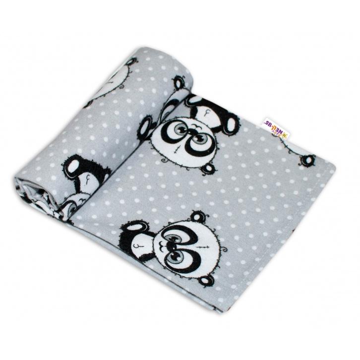 Kvalitní flanelová plenka, 70 x 80 cm - Panda šedá, puntíky