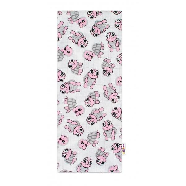 Kvalitní bavlněná plenka - Premium, 70 x 80 cm - Želvičky růžové