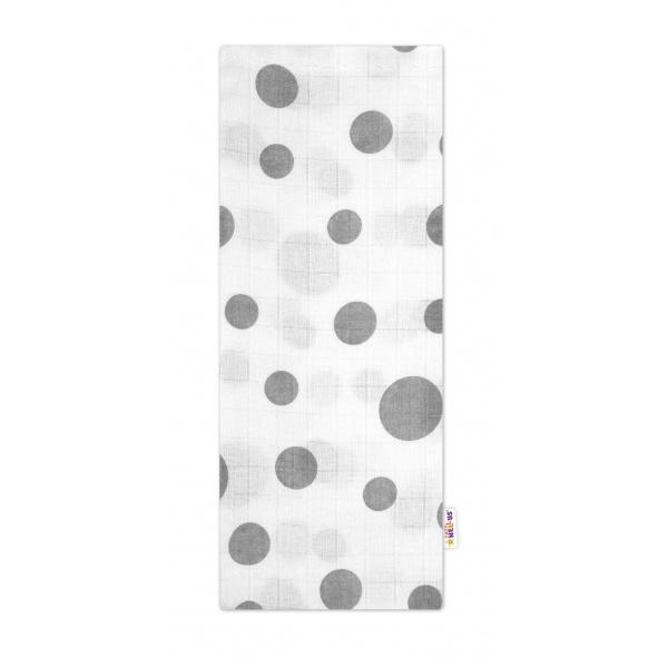 Kvalitní bavlněná plenka - Premium, 70x80cm - Puntíky šedé na bílé