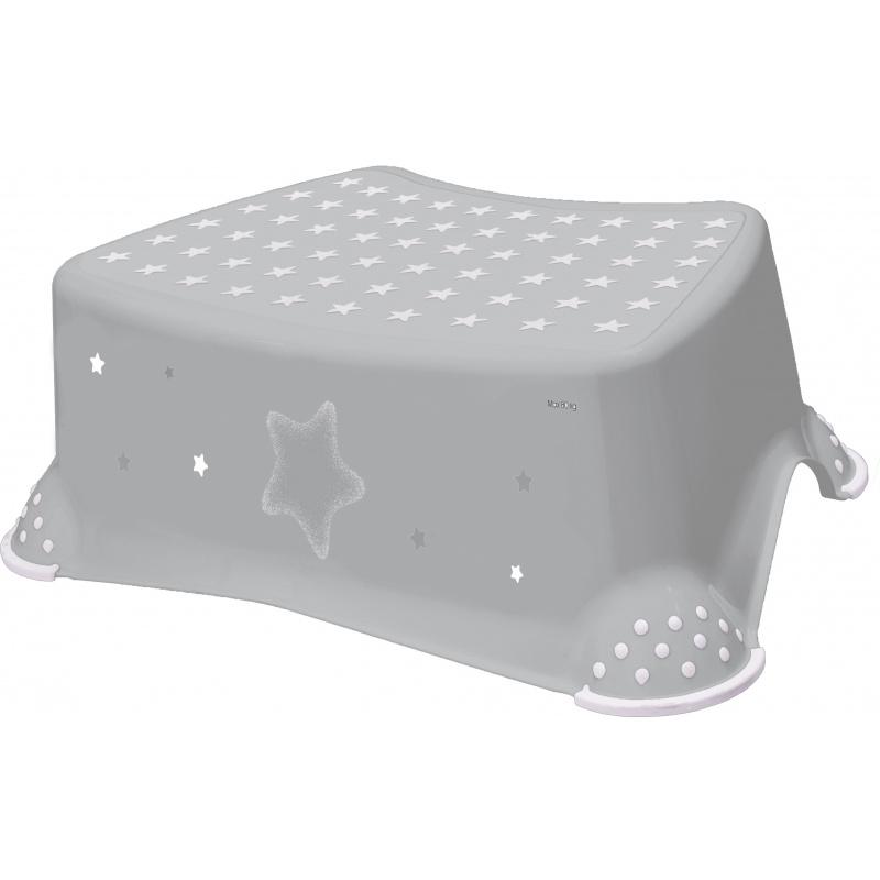 Stolička, schůdek s protiskluzem - šedý