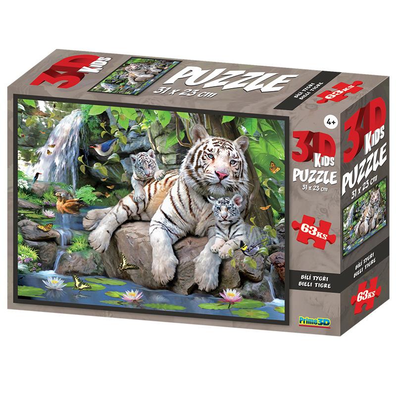 Puzzle 3D 63 dílků Bílí tygři