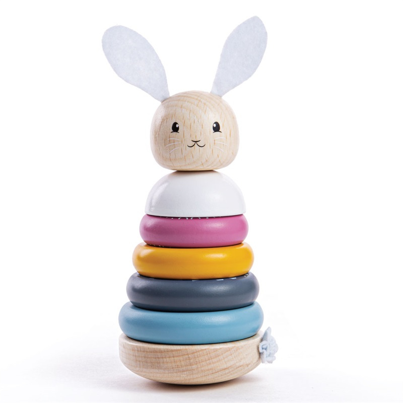 Bigjigs Baby Drewniany króliczek z wieżyczką z napędem