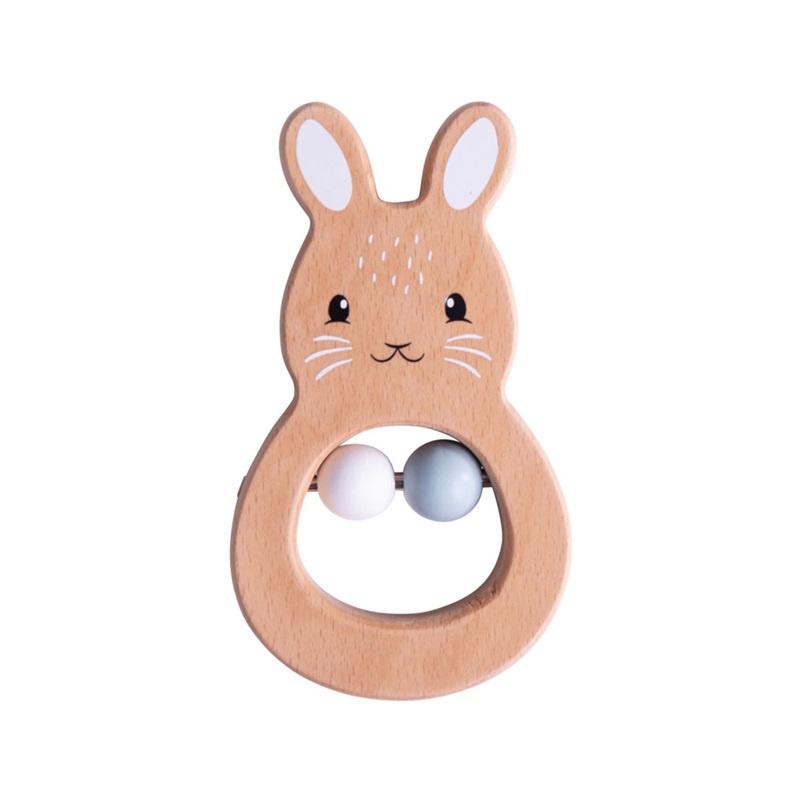 Bigjigs Baby Drewniana grzechotka króliczka