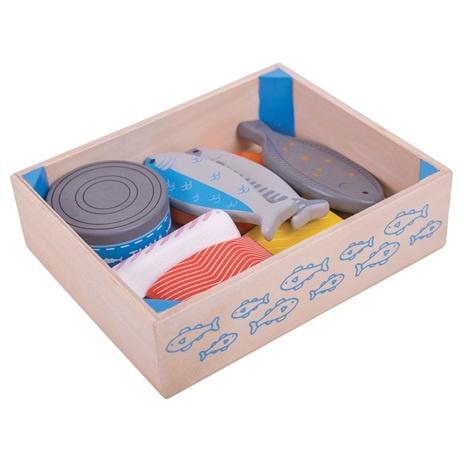 Bigjigs Toys Dřevěné potraviny Ryby v krabičce
