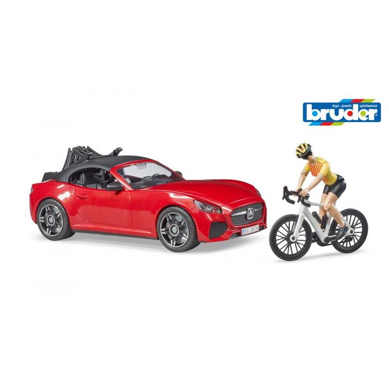 Volný čas - kabriolet červený s kolem a cyklistou