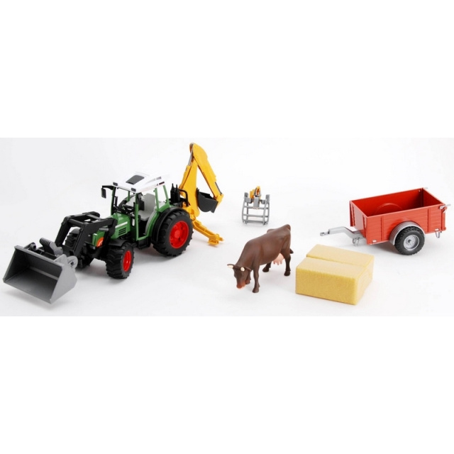 Bruder Traktor Fendt s čelním nakldačem s bagrem, vozem a krávou