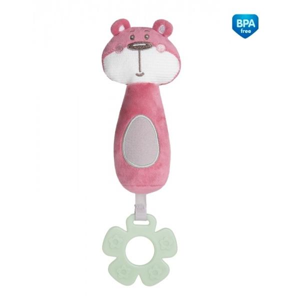 Plyšová pískací hračka s pískátkem a kousátkem - Medvídek růžový