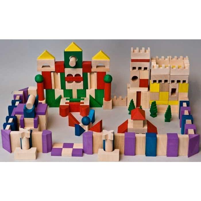 EkoToys Dřevěné kostky barevné 200 ks XL