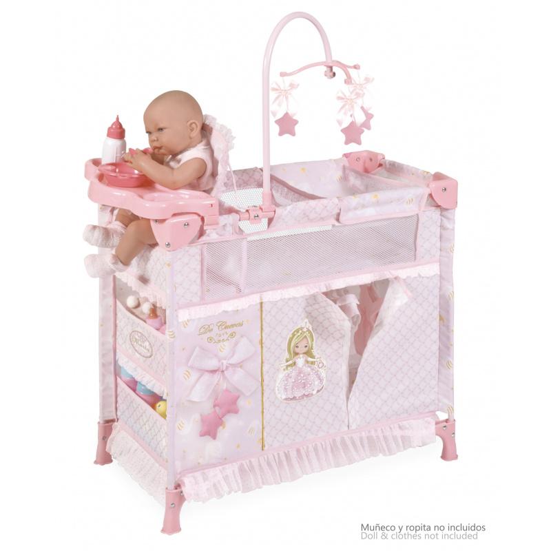 DeCuevas Skládací postýlka pro panenky s 5 funkčními doplňky Maria 2019