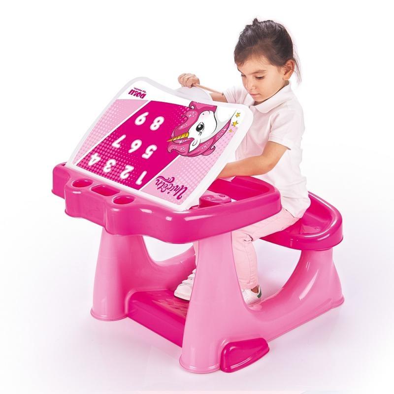 Dětská plastová lavice se stolkem, jednorožec