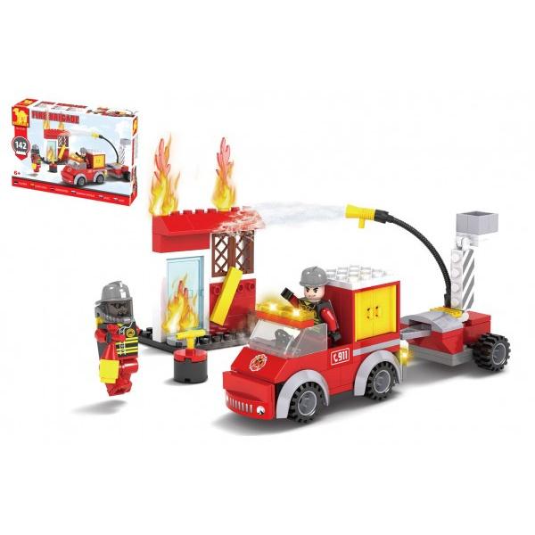 Kostky stavebnice Dromader hasiči 142 dílků v krabičce 22x15x5cm