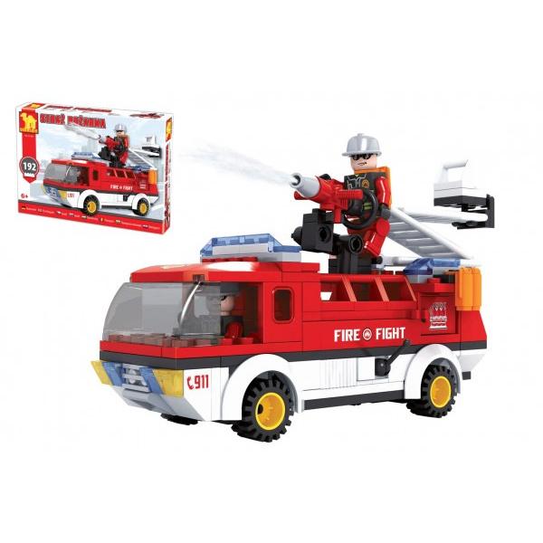 Kocky stavebnice Dromader auto hasiči 192 dielikov v krabici 35x25x5,5cm