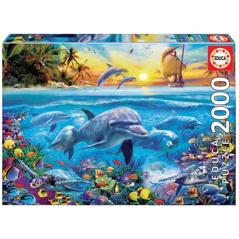 Puzzle 2000 dílků - Rodina delfínů