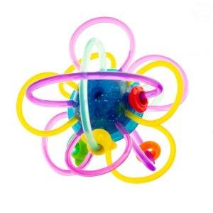 Edukační hračka - chrastítko - propletený míček - modrý