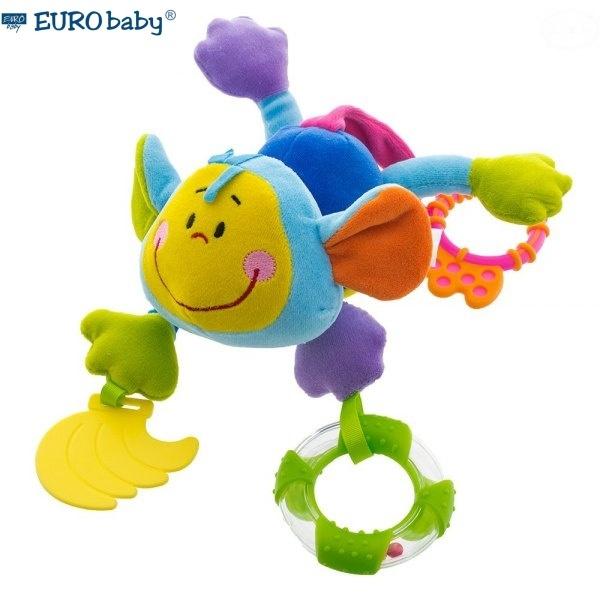 Euro Baby Závesná edukačné hračka s hrkálkou a hryzátkom - Opica - modrá