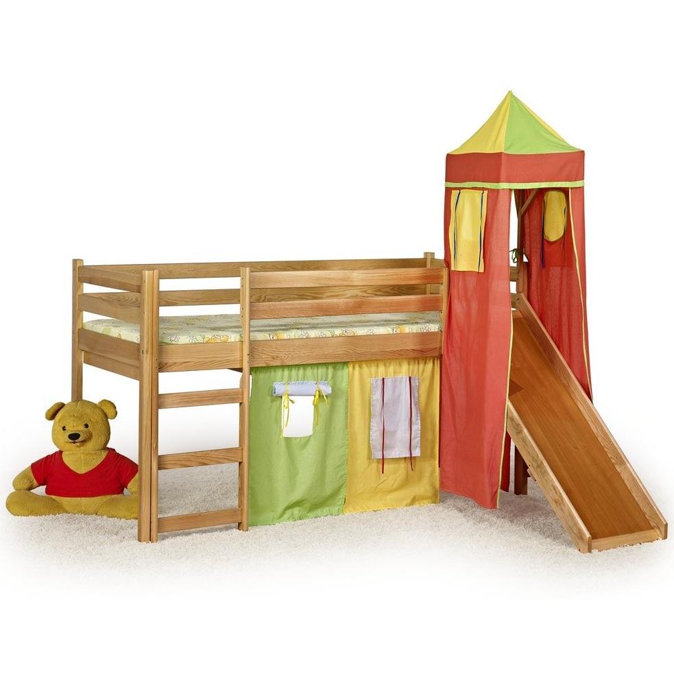 Halmar FLO patrová postel se skluzavkou, věží a matrace - olše