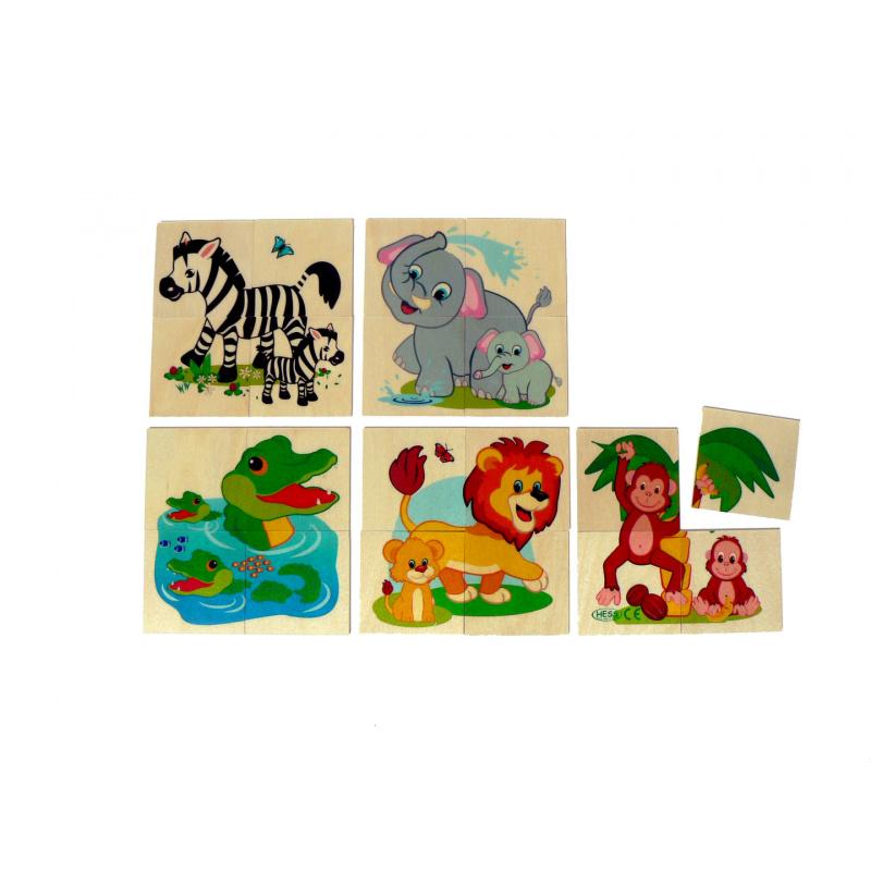 Hess Drewniane puzzle Zwierzęta z dżungli