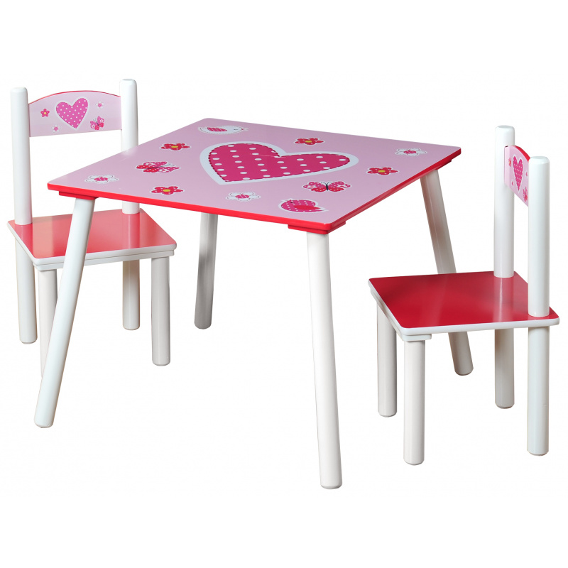 Detský stôl s stoličkami ružový